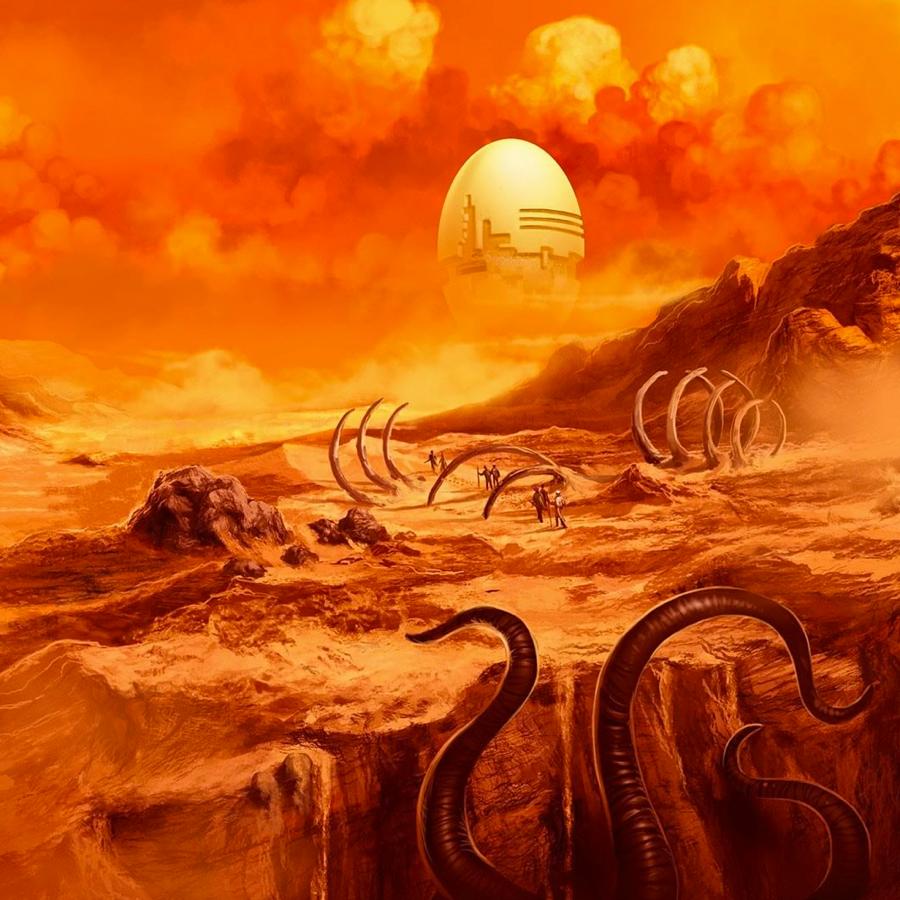 orange sci fi illustration book cover