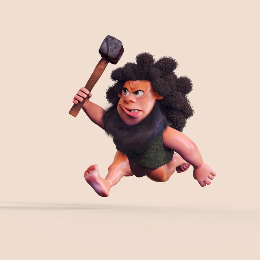 3d character design of a caveman
