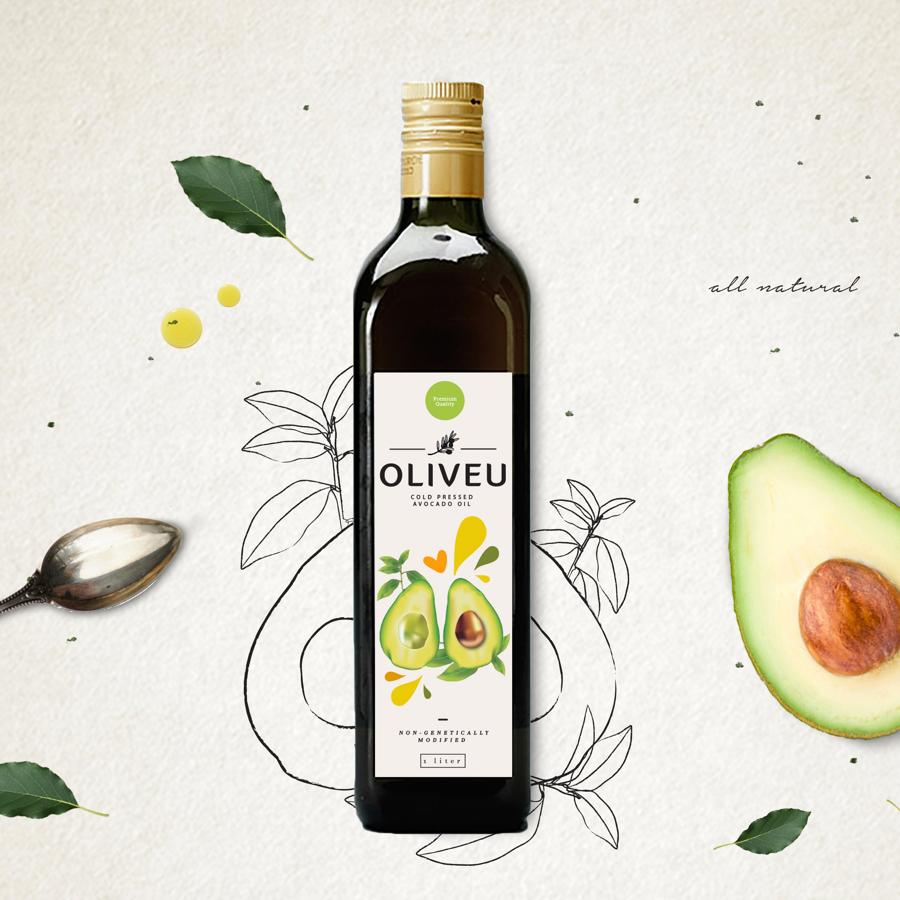 avocado oil label on bottle