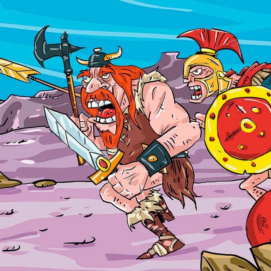 orange cartoon warriors running to battle