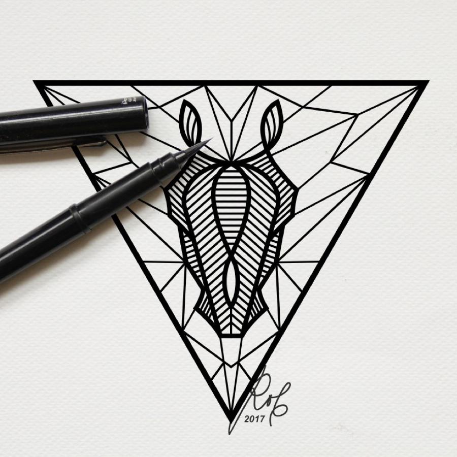 black horse triangle line art illustration tattoo