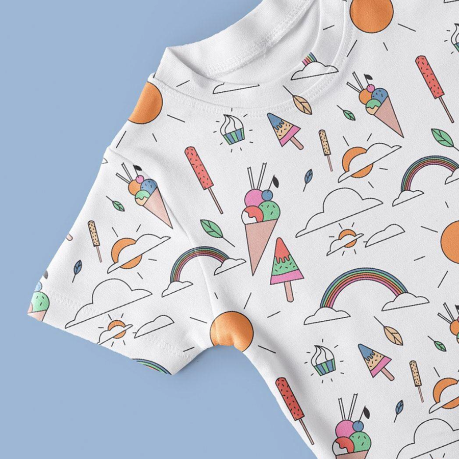 white tshirt with colourful icecream illustrations