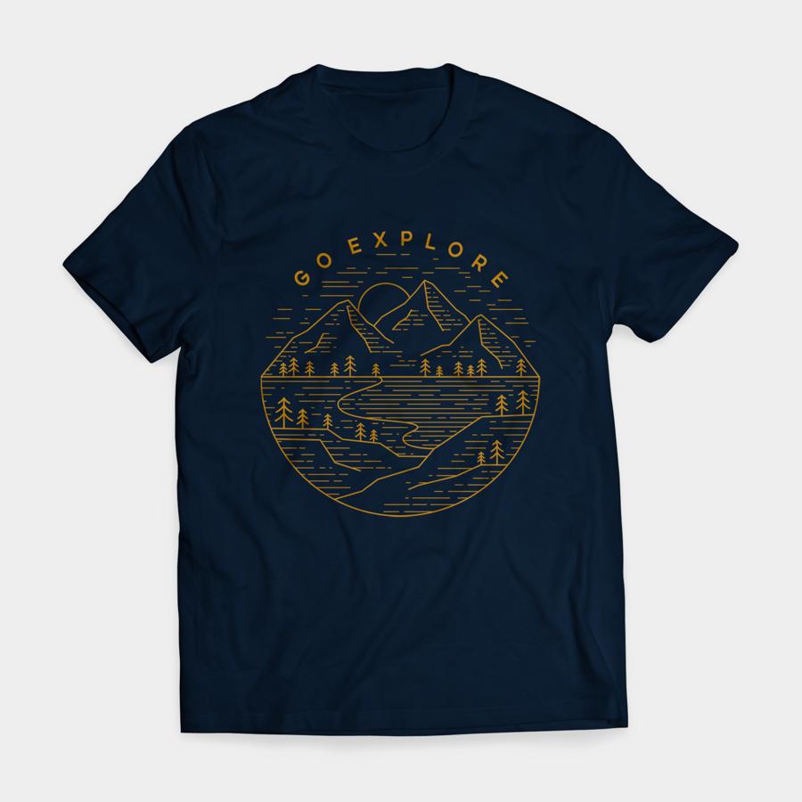 dark tshirt with brown mountain illustration