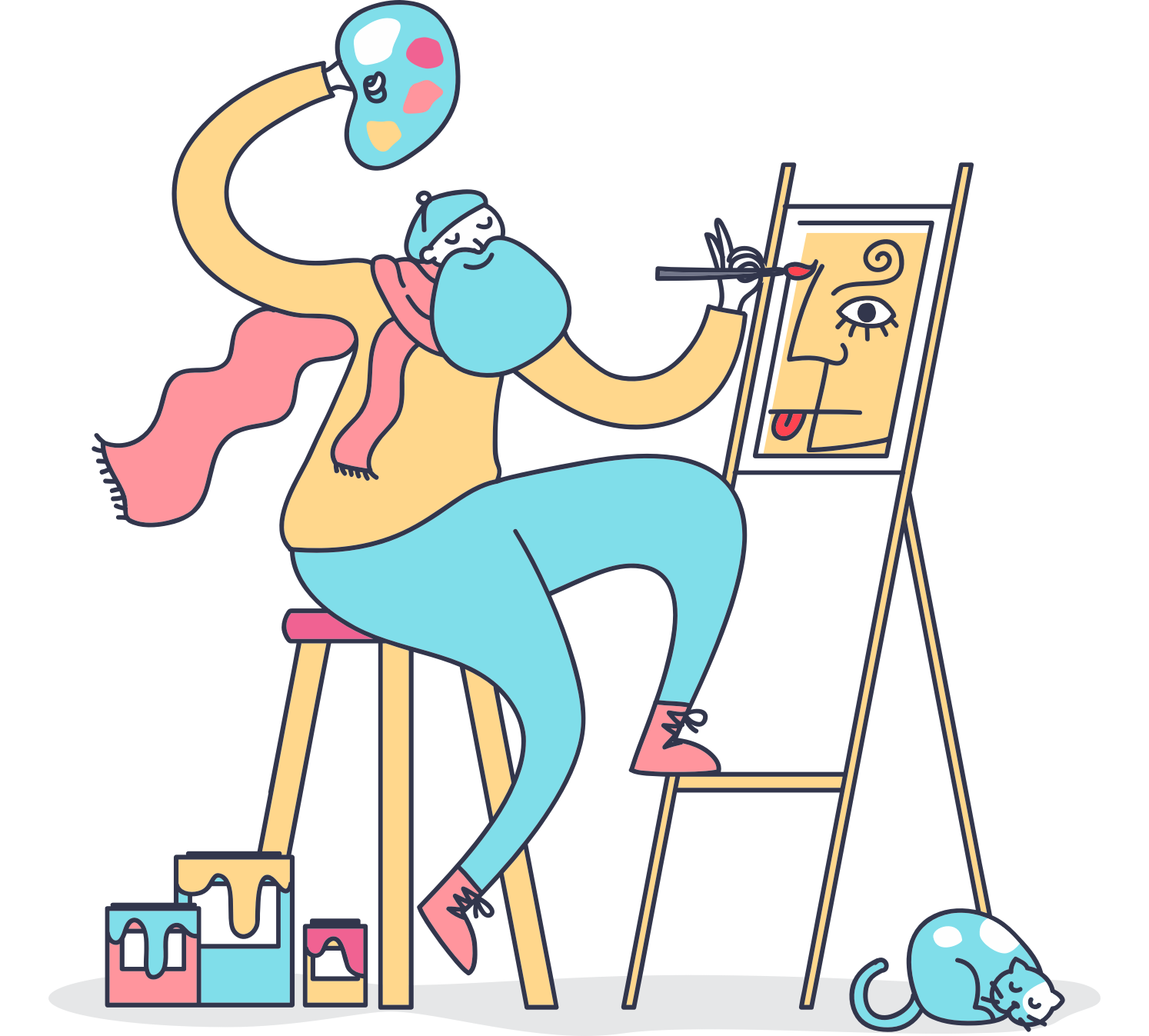 colorful illustration of artist painting