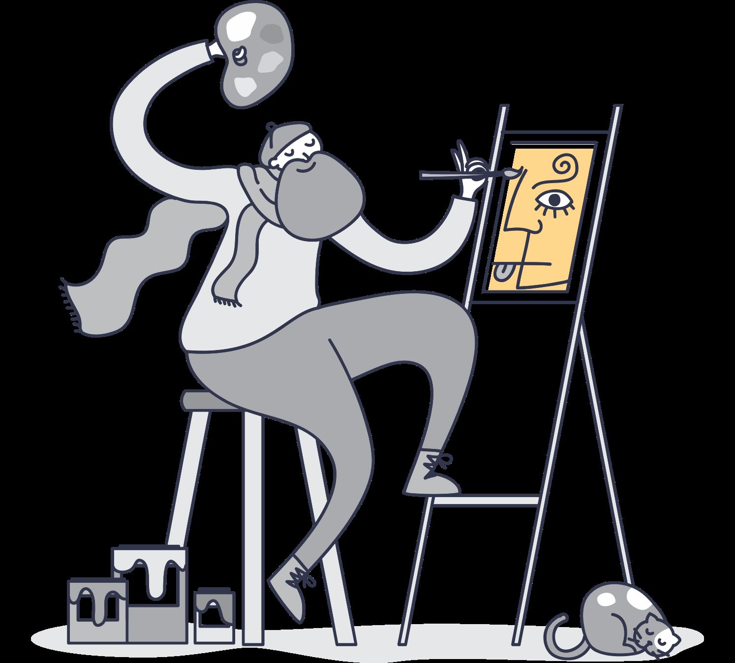 greyscale illustration of artist painting