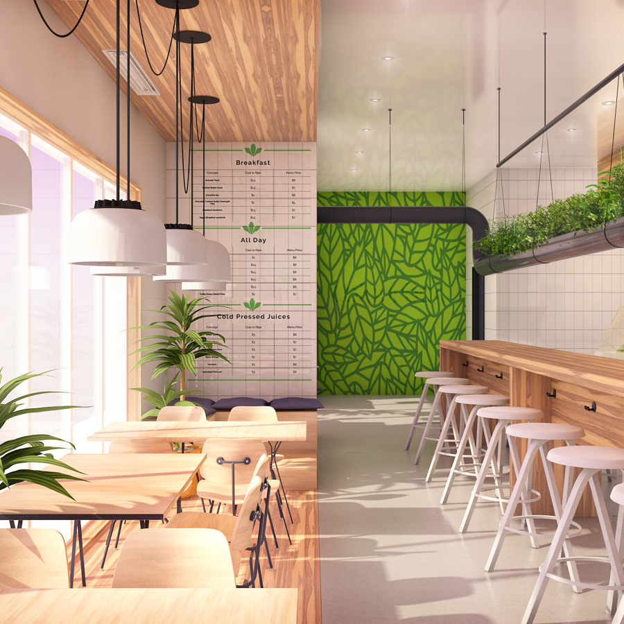 3d rendering of cafe interior