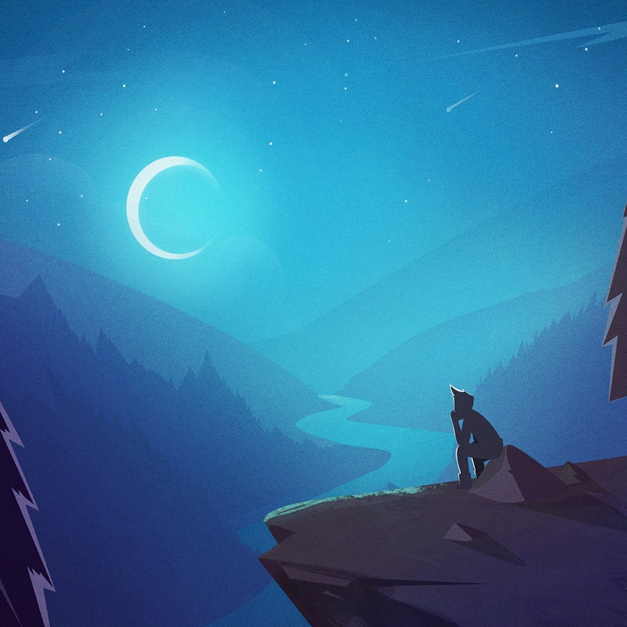 illustration of person on a mountain at night