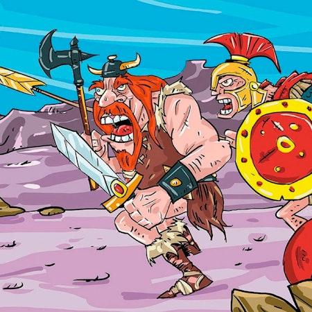 戦いの場に走るオレンジ色の戦士イラスト