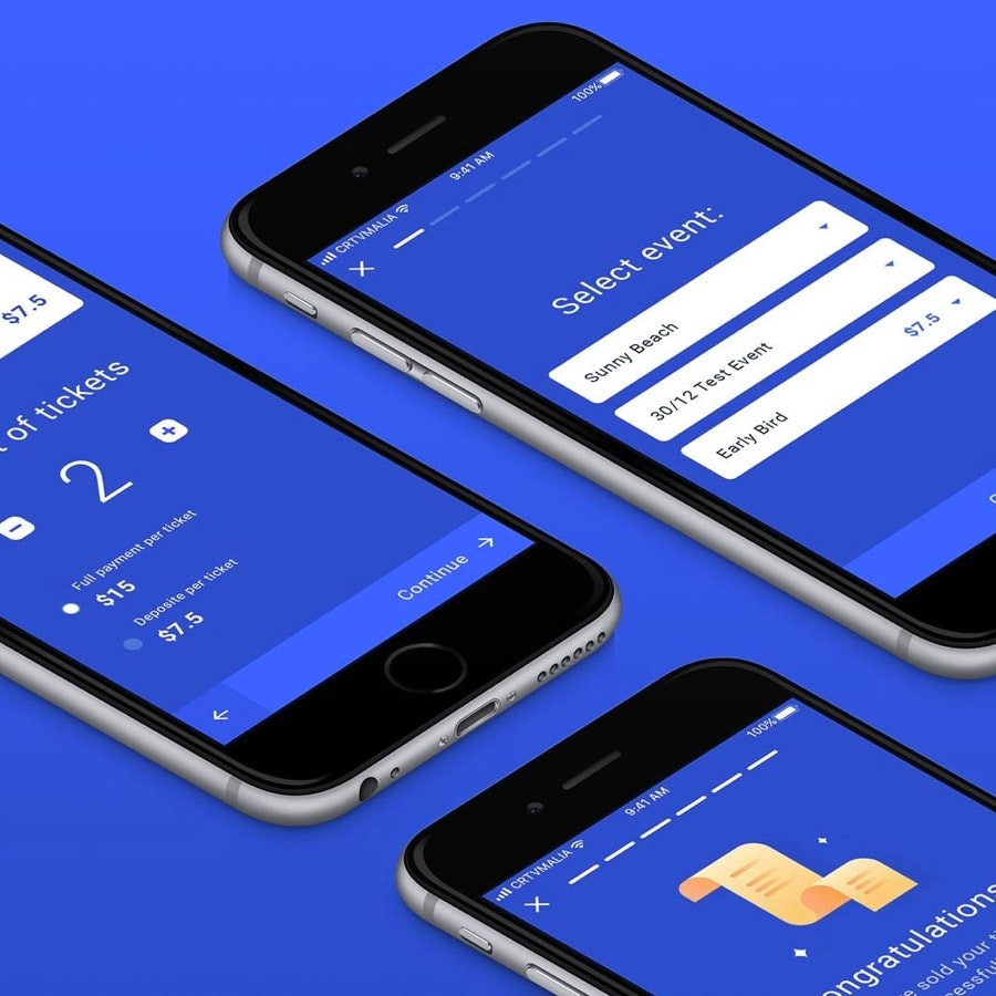ontwerp voor een mobiele app in de kleur blauw