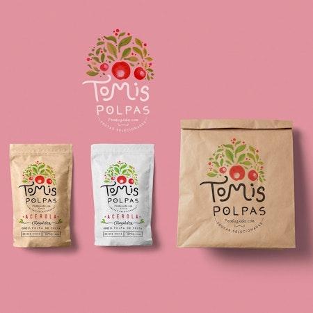 トマトの水彩画が表示されているパッケージデザイン
