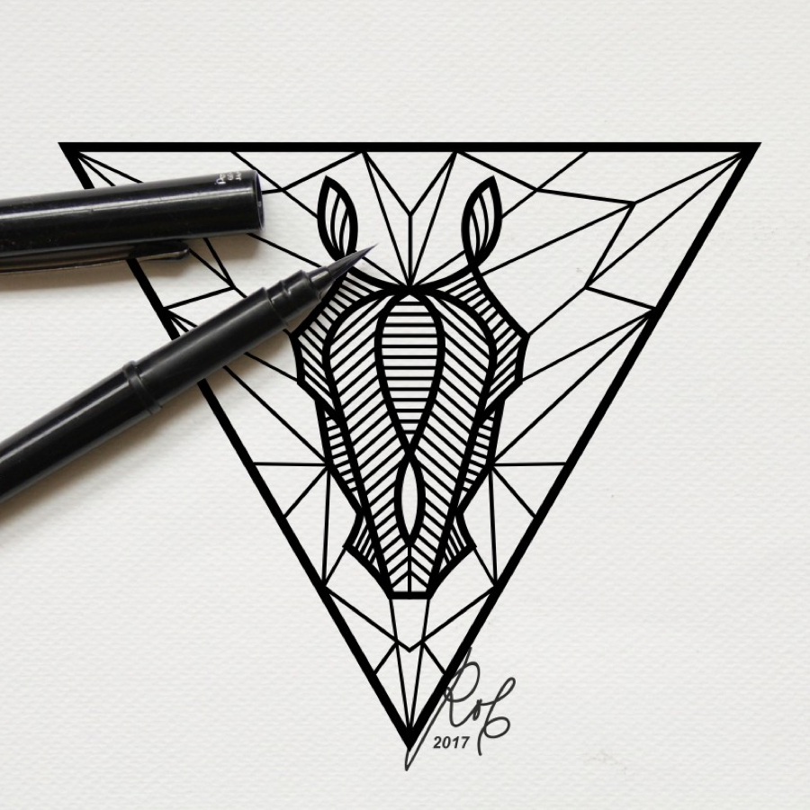 black horse triangle line art illustration tattoo