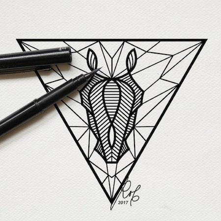 黒い馬の線画イラストタトゥー