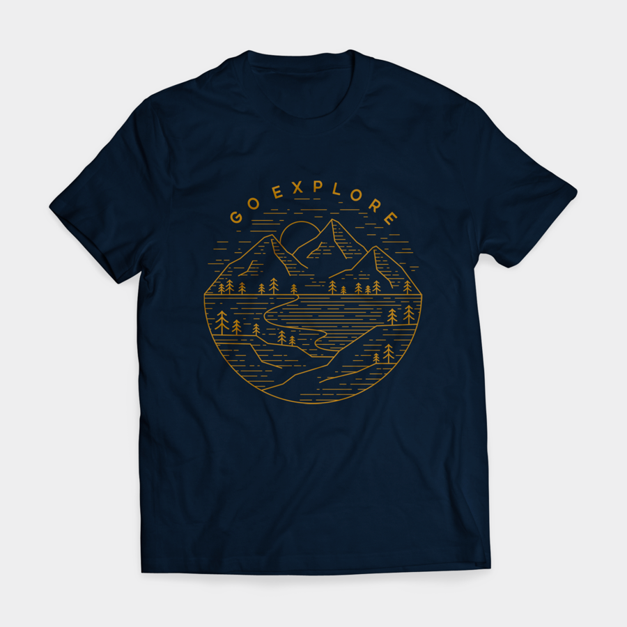 dark tshirt with brown mountain illustration
