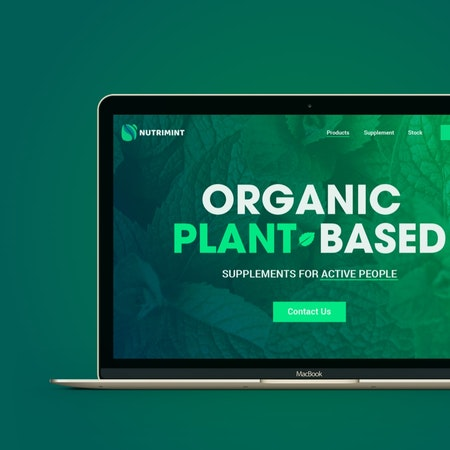 緑色の植物ウェブサイトが画面に表示されているノート型パソコン