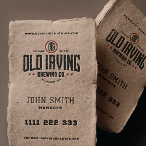 Cartão de visita para Old Irving Brewing Co. por Hard Design