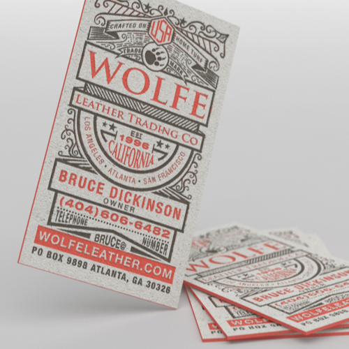 Carte de visitepour Wolfe Leather réalisé par Cheeky Creative
