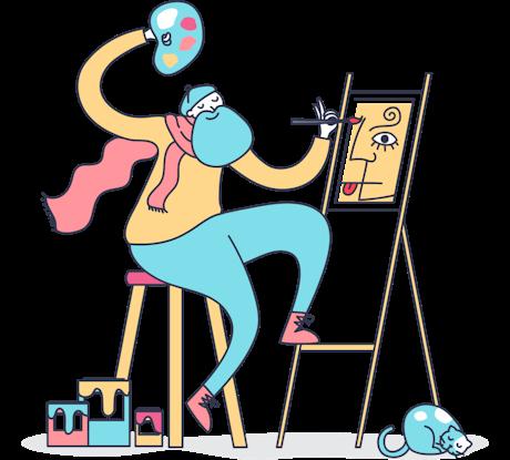 絵を描く画家のカラフルなイラスト