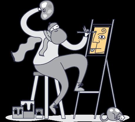 絵を描く画家のモノクロイラスト