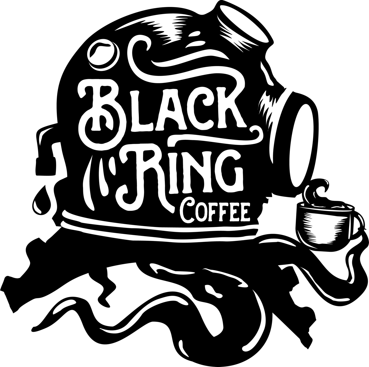 black scuba diving coffee helmet logo design