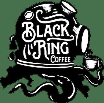 黒いスキューバダイビングヘルメットとコーヒーをモチーフとしたロゴデザイン