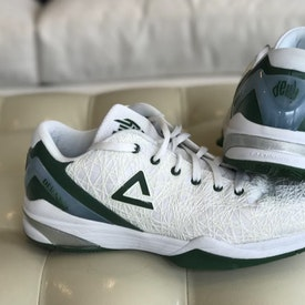 green and grey basketball shoes
