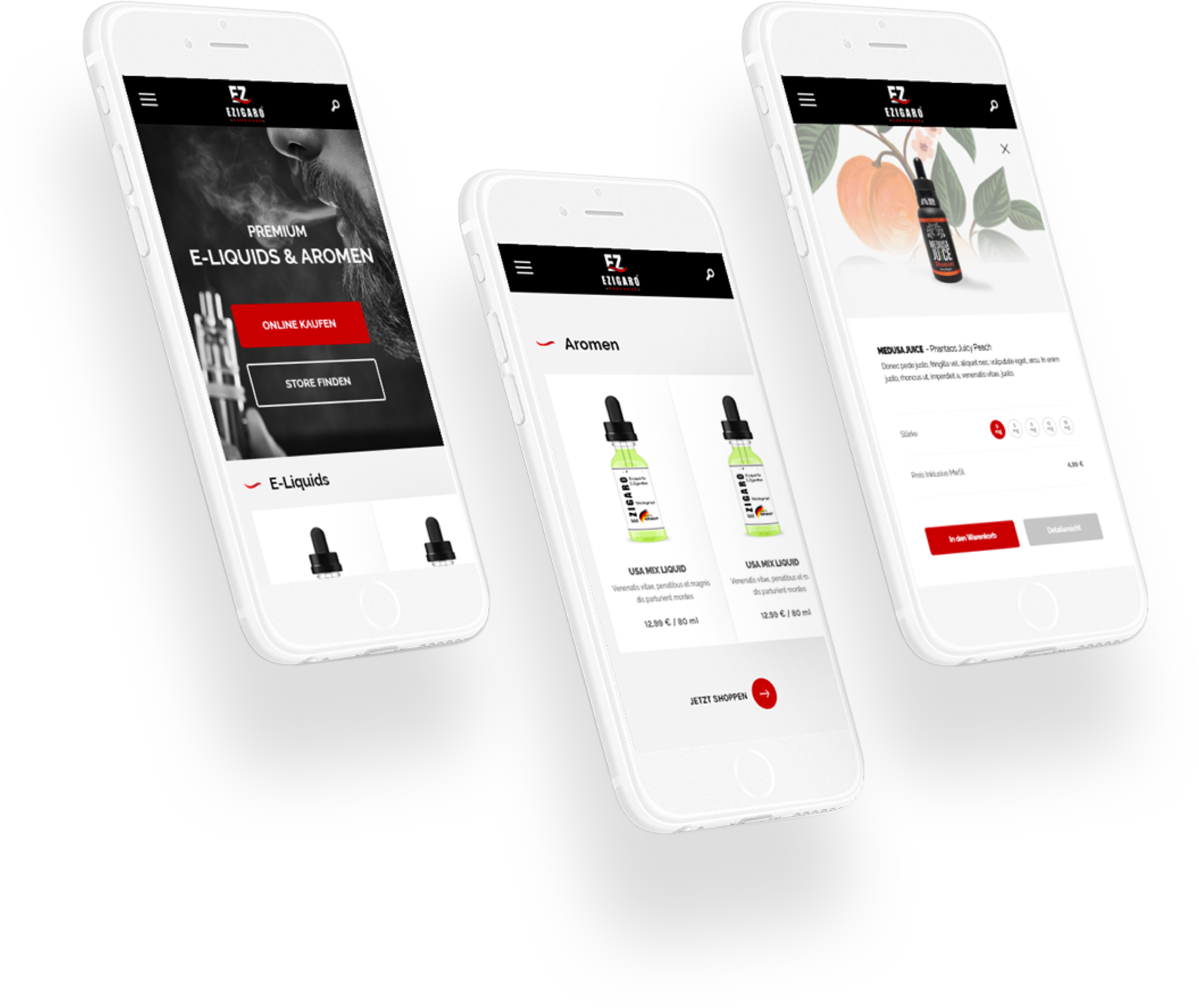 three mobile phones with red and black interface web design