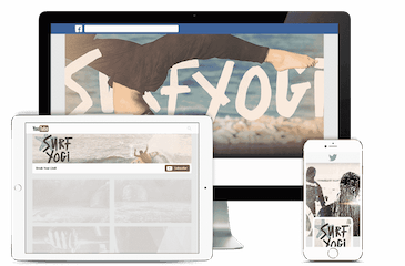 Social media graphic design for a surf and yoga brand modeled on imac, tablet and mobile device.